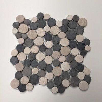 Mozaiek Rond Creme/antraciet