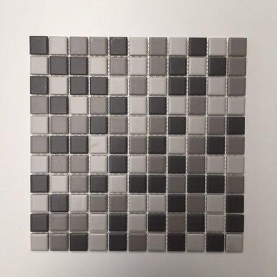 Mozaïek Vierkant Antraciet/grijs/lichtgrijs